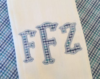 Monogrammed Applique Fabric Burp Cloth Embroidered Custom Baby