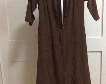1920s/30's  Art Deco Chocolate Brown Dress TLC