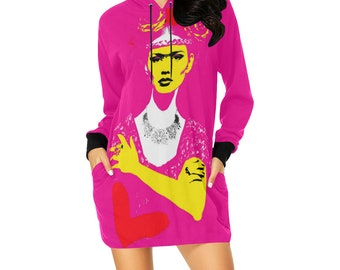 pink frida hoodie mini dress