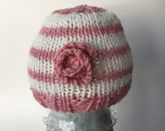 Knitted Preemie Baby Girl Hat,Knit Baby Hat,Baby Shower Gift, Newborn Baby Hat,Newborn Photo Prop, Merino Wool Baby Hat,Baby Girl Beanie,