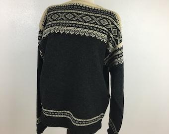 Vintage pure wool scandinavian sweater boat neck Norweigan sweater