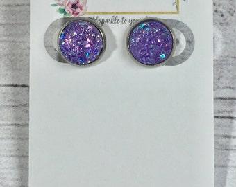 12mm Light Purple Druzy Earrings