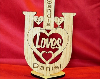 Personalised Wooden Love Heart Valentines Day I Love You Anniversary Gift mw57