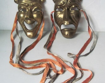Pair of Vintage brass Theater Masks with silk ribbons