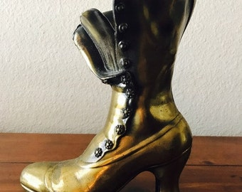 Large Vintage Brass Granny Boot