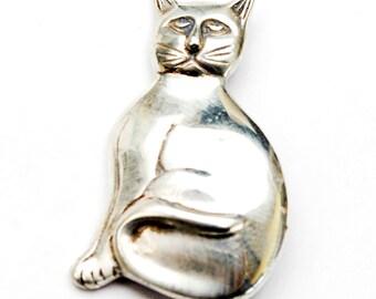 Sterling Cat brooch  pendant - Silver feline figurine pin