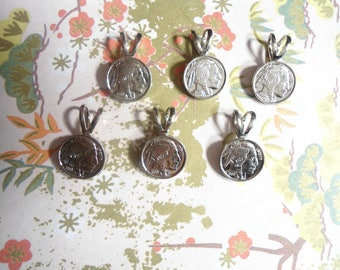 6 Silverplated 10mm Buffalo Nickel Coin Pendants