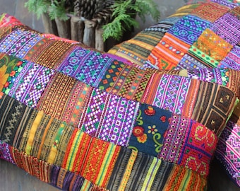 Bohemian Pillow Vintage Hmong Embroidery And Batik Lumbar Pillow Cushion Cover