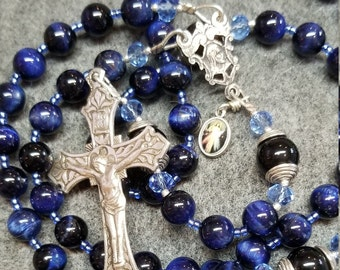 Rosary Blue Tiger Eye Onyx, Sterling Silver Hand Cast Crucifix, HeartFelt Rosaries