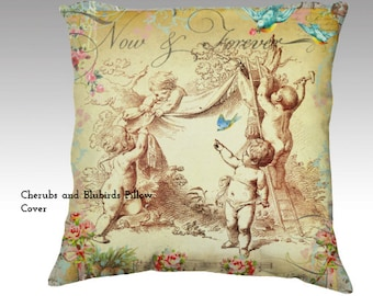 Cherubs and Bluebirds Vintage Style Velvet Pillow Cover accent pillow throw pillow designer pillow
