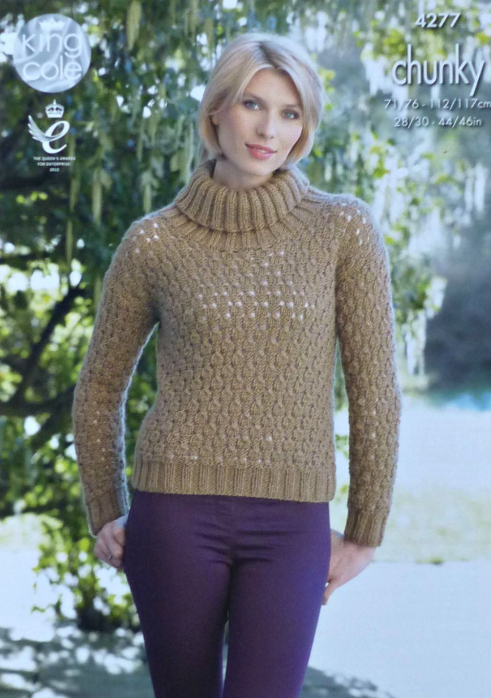 Womens Knitting Pattern K4277 Ladies Long Sleeve Cowl Neck Easy Lace ...