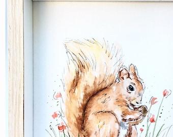 3/3 Original Woodland Watercolour Painting Squirrel