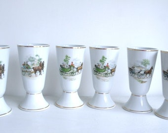(X 6) coffee cups mugs vintage porcelain decorated with 3 different engraving carriage horses. Perfect condition!