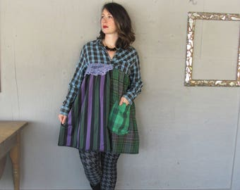 upcycled tunic dress Bohemian clothing Boho loose fit wearable art X Large recycled oversize shirt romantic fun clothes LillieNoraDryGoods