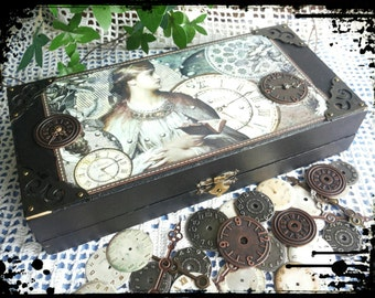 Handmade altered old steampunk box