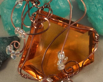 198 Carat Fancy Cut Top Fanta Golden Citrine Wire Wrapped Necklace  FREE SHIPPING