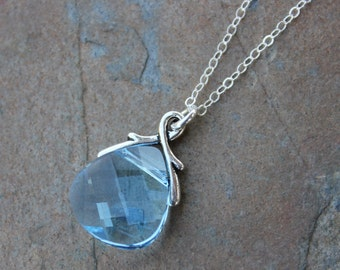 Aquamarine crystal briolette necklace - light aqua blue Swarovski faceted crystal on sterling silver chain - free shipping USA