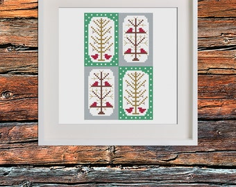 Winter Robin Tree PDF Cross Stitch Pattern