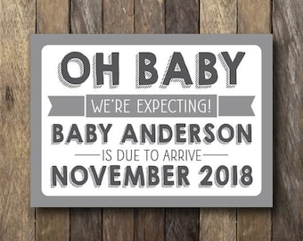 Pregnancy Announcement - Printable Pregnancy Reveal - We're Expecting - Printable Pregnancy Announcement - Pregnancy Reveal Sign