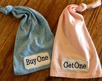 Twin Newborn Hats - Twin Hats - Newborn Knot Hats - Twin Baby - Twin Baby Girls - Twin Boy Hats - Buy One Get One - Hats-Hospital Hat