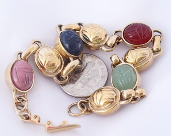 Vintage Gemstone Scarab Bracelet, Egyptian Revival Link Bracelet Retro 1960s Jewelry