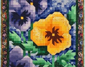 PDF Quilt Pattern - Pansy Mosaic Quilt Pattern