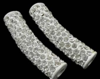 1pc fashion tube rhinestone pave beads for jewelry making brass tube-4818c