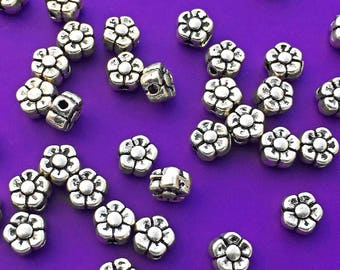 20 Flower Beads, Antique Silver Tone, about 5mm x 5mm with 1.2mm Hole  - TS803R