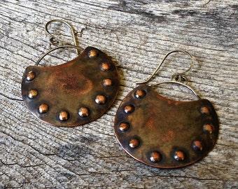 Rustic, Embossed Copper Earrings