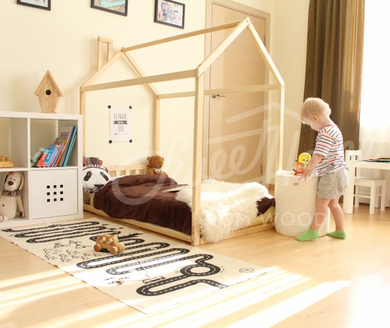 Small Box Room Cabin Bed For Grandma: House Bed Frame FULL Or QUEEN Toddler Bed Cabin Bed Floor