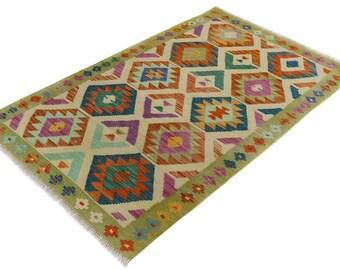 Kilim arya eoin gray/purple hand-woven rug (3'1 x 4'11)