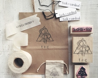NEW Pigeon Package >> TOP SHOP << 4 stamps + 2 ink >> a custom hand-carved rubber stamp set for your business
