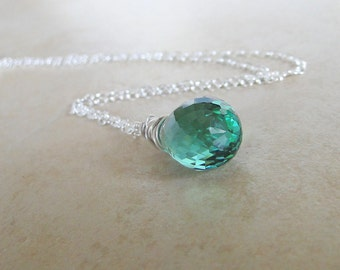 Green Amethyst Wire Wrapped Necklace On A Sterling Silver Chain (390)