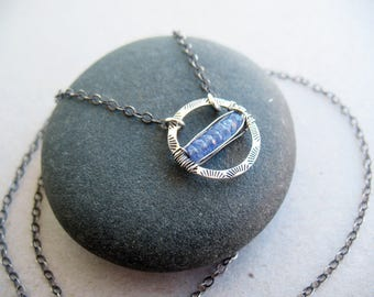 Tanzanite Necklace, Gemstone Necklace, Circle Necklace, December Birthstone, Gift for Women, Sterling Silver, Stamped Silver, Wire Wrapped