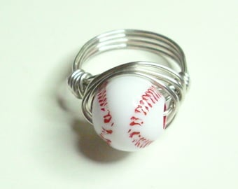 Baseball Ring Red White Silver Handmade Wire Wrapped Ring Sizes 1-14
