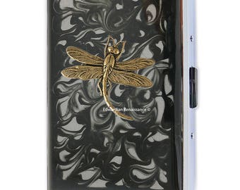 Dragonfly Metal Cigarette Case Inlaid in Hand Painted Enamel Art Nouveau nspired Metal Wallet Engraved and Personalized Options