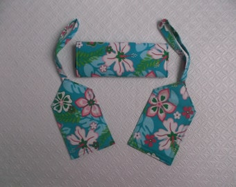 New Price  - Hibiscus and Plumeria Luggage Tag and Handle Wrap set