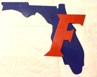UF Gators State of Florida wood plaque