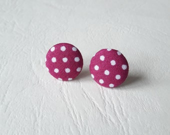 Round earrings - plum white polka