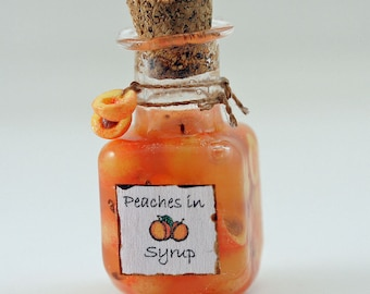 12th scale handmade dollhouse miniature Peaches in Syrup.