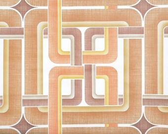 Paper roll painted, geometric pattern in Orange tones, seventies, France