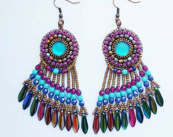 Turquoise long earrings, bronze earrings, dangle earrings, fringe earrings, boho earrings, tassel earrings, gipsy earrings.