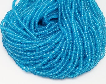 CLEARANCE!    4 - 5mm Swiss Blue Topaz Faceted Rondelles, 13 inch