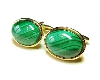 Semi-precious Gemstone Cabochon Cufflinks - Green Malachite - Silver or Gold Plated