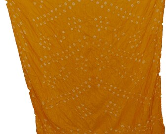 Hand-Printed Art Silk Scarf Mandala Solid Color, 41 x 41 Inches (Sunshine Gold)