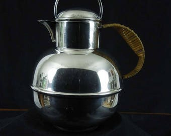 Apollo E.P.N.S. Silver Teapot or Creamer. #2134. Rattan Wrapped Handle by Bernard Rice's Sons Inc. Silver Plated.