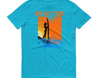 My Solitude Surfing Tees, Surfer Girls Retro Vintage Surfing T-Shirt | Woman Surfer Short-Sleeve T-Shirt