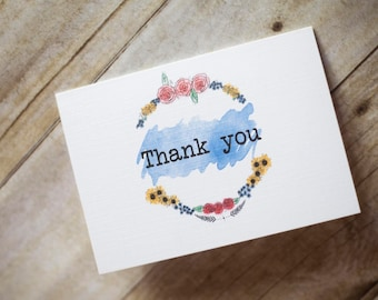 Premium Thank you note cards with envelopes, a6 thank you cards Rustic thank you notes  10pk  thankyou thanks wedding thank you notes card