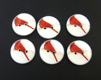 6 Handmade Buttons. Cardinal Buttons. Sewing Buttons. Choose Your Size.