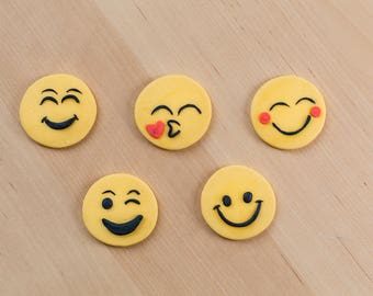 Smiley Face Emoji Cupcake or Oreo Cookie Fondant Toppers